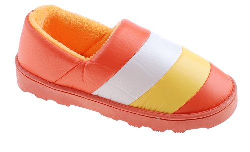 Colorfulworldstore Gestreifte wasserfeste Baumwoll-Slipper mit Seitennaht, Absatz und Fleece Damen orange