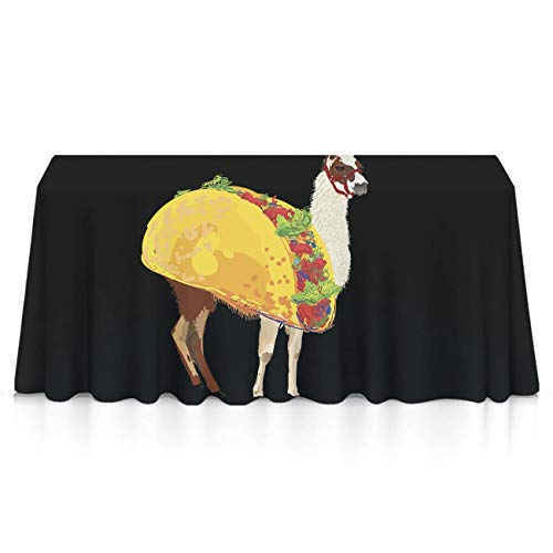 Llama Taco Rectangular Tablecovers Polyester Waterproof Wrinkle Free