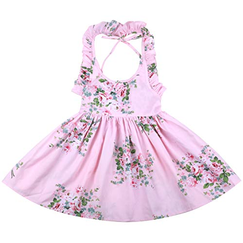 - Flofallzique Pink Floral Toddler Girls Dress Summer Vintage Birthday Party Easter Spring Dress(2, Pink)