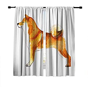 DUISE Blackout Curtains Window Treatments Drapes, Rod Pocket Window Curtains, Akita Dog Oil Painting, for Living Room Bedroom Light Blocking Curtains, 2 Panels Set, 84W X 84L Inches 4