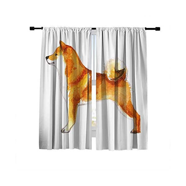 DUISE Blackout Curtains Window Treatments Drapes, Rod Pocket Window Curtains, Akita Dog Oil Painting, for Living Room Bedroom Light Blocking Curtains, 2 Panels Set, 84W X 84L Inches 1