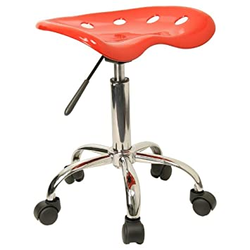 Flash Furniture LF-214A-BLACK-GG Vibrant Black Tractor Seat and Chrome Stool