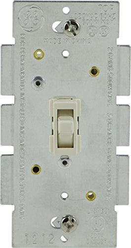 GE Light Switch Dimmer, Single Pole Toggle Dimmer, On/Off Dimmable Wall Switch, Dimmable LED, CFL, Incandescent Bulbs, UL Listed, Light Almond, ()