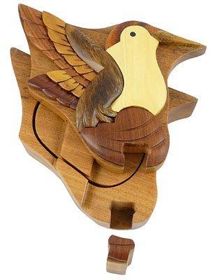 (Hummingbird Handmade Carved Wood Intarsia Puzzle Box)