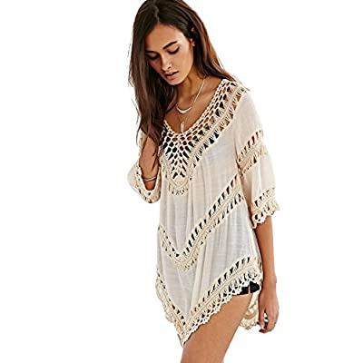 Vanbuy Women's Boho V Neck Crochet Tunic Tops Blouse Shirt Hollow Out Beach Swimsuit Cover up at Women's Clothing store