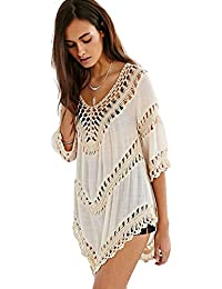 Women's Boho V Neck Crochet Tunic Tops Blouse Shirt...