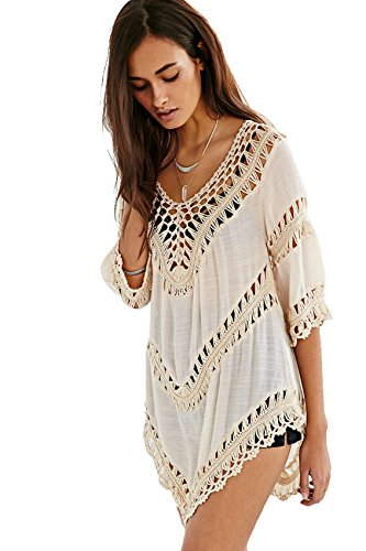 Vanbuy Women's Boho V Neck Crochet Tunic Peasant Tops Blouse Long Shirt Beach Coverup Beige Z01-Beige