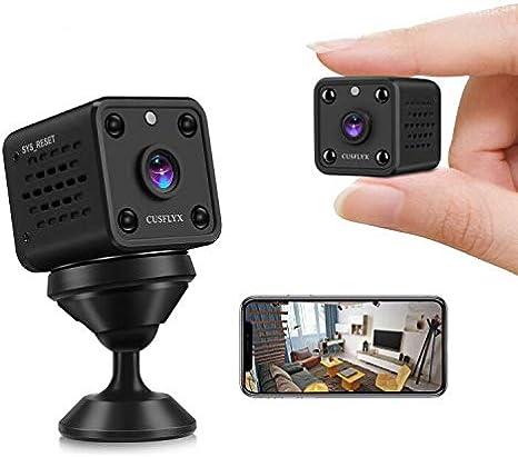 Cámaras Espía-CUSFLYX Cloud 1080P WIFI Full HD Mini Cámara Vigilancia Niñera Mascotas Deportes Garaje IR Visión Nocturna 150ºGran Angular Detección de Movimiento Video Remoto Android y IOS(2.4G Only)