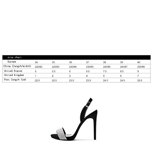 Sexy Sandales Femmes Strass Bout à pour Dos Talons des Belles Avec de Dos Femmes Les Noir Hauts à Ouvert Mots à 11cm Les wysm Chaussures 4OgwF5qc