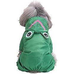 kaifongfu Pet Raincoat Dogs Hooded Raincoat Pet Waterproof Puppy Dog Jacket Outdoor Coat (M, Green)