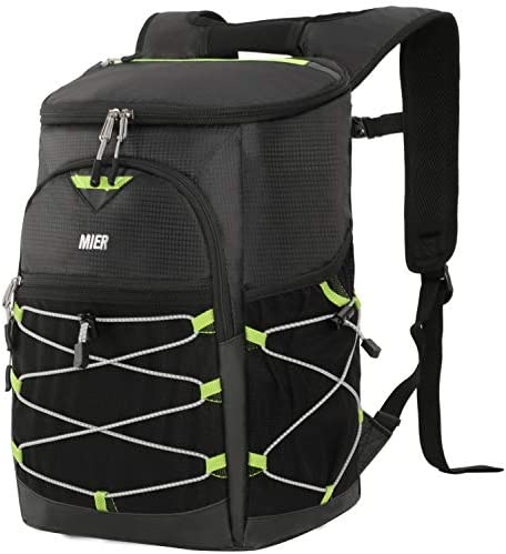 MIER No Leak Cooler Backpack for Men Women Insulated Lightweight Lunch Bag for Hiking, Camping, Beach, Travel, Work, YKK Zip, 24 Cans, Black