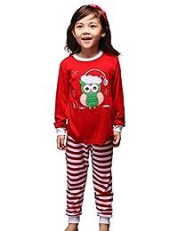 Pettigirl Girls 2 Piece Clothing Set Cartoon Owl Striped Pajamas 2-7 Y