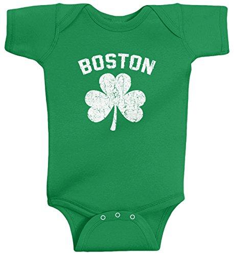 Threadrock Baby Boys' Boston Shamrock Irish Pride Infant Bodysuit 6 Months Kelly Green