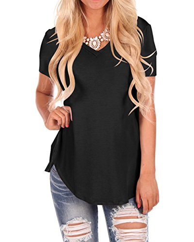 WFTBDREAM Women V Neck Curved Hem T Shirt Solid Color Short Sleeve Black L