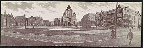 1906 Photo Trinity Church, Copley Sq., Boston, Mass. Postcard shows Trinity Church across Copley Square, the surrounding neighborhood, pedestrians and horse and carriages. Location: Boston, Massachuse