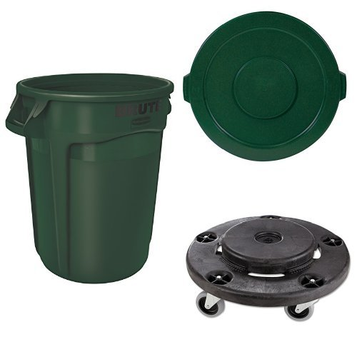 Rubbermaid Commercial BRUTE Heavy-Duty Waste/Utility Container, Vented, 32 Gallon, Dark Green with Lid and Dolly (FG263200DGRN, FG263100DGRN & FG264000BLA)