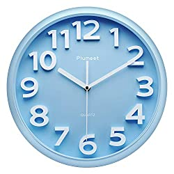 Plumeet Large Wall Clock, 13 Silent Non-Ticking Quartz Decorative Clocks, Modern Style Good for Living Room Home Office Battery Operated (Blue)