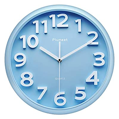 """Plumeet Large Wall Clock, 13"""" Silent Non-Ticking Quartz Decorative Clocks, Modern Style Good for Living Room Home Office Battery Operated (Blue) - Modern Wall Clock -- large numbers bulged out over blue dial face, super quiet & non-ticking, easily to see and read 13 inch diameter round frame. Eye-Catching Numeric -- Large and clear 3D intuitive numeric indicator at every hour and minute tracker make it easy to see from any corner of your room . Super Silent -- Precise quartz movements to guarantee accurate time, quiet sweep second hand ensure a good sleeping and work environment. - wall-clocks, living-room-decor, living-room - 41mnVlk7AqL. SS400  -"""