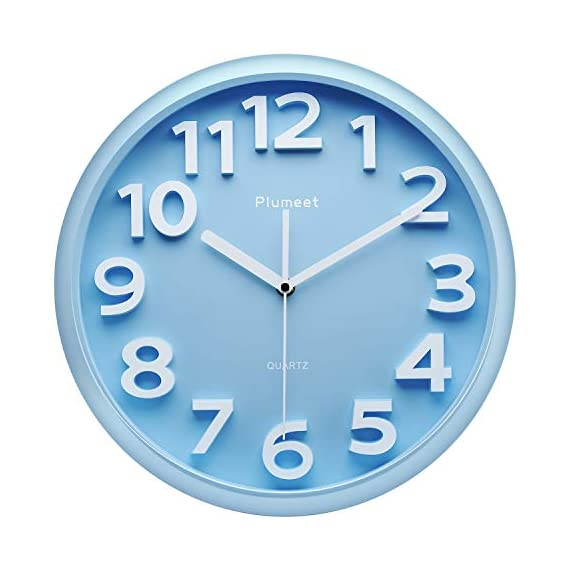 Plumeet 13'' Large Wall Clock - Silent Non-Ticking Quartz Wall Clocks for Living Room Decor - Modern Style Suitable for Home Kitchen Office - Battery Operated (Blue) - Wall Clocks for Living Room -- large numbers bulged out over blue dial face, super quiet & non-ticking, easily to see and read 13 inch diameter round frame. Eye-Catching Numeric -- Large and clear 3D intuitive numeric indicator at every hour and minute tracker make it easy to see from any corner of your room . Super Silent -- Precise quartz movements to guarantee accurate time, quiet sweep second hand ensure a good sleeping and work environment. - wall-clocks, living-room-decor, living-room - 41mnVlk7AqL. SS570  -
