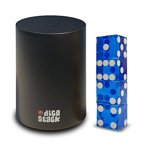 (Dice Stacking Cup - Professional Straight Cups Black w/5 19mm Razor Edges Dice - Accessories - Magic Tricks (9cm Blue))