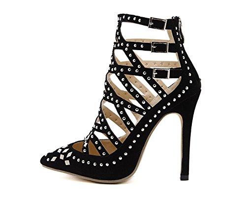 KHSKX-Schwarz 8.5Cm Einzelne Schuhe Weibliche Rivet Sandalen Hohle Sharp Ferse Ferse Schuhe Sandalen Baotou Scharf Thirty-five