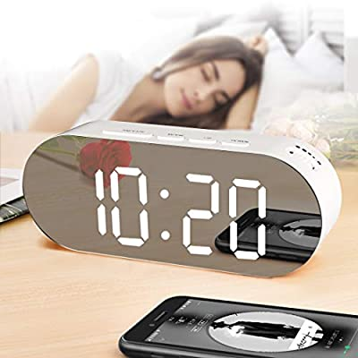 WulaWindy Alarm Clock Digital Mirror Surface Dimmer Large LED Display with Dual USB Charger Ports Snooze Sleep Timer for Bedroom Decor