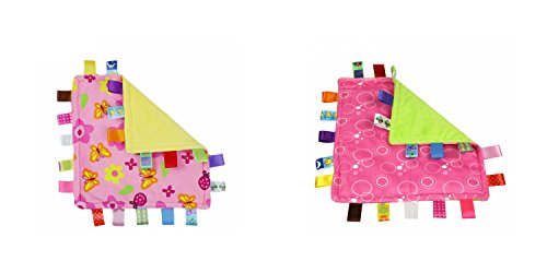 J&C Family Owned Pink Flowers and Pink Bubbles Taggie Style Super Soft Lovey Baby Blanket 2 Pack by J&C Family Owned
