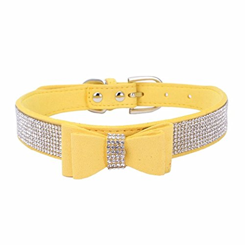 Sunward Dog Collar, Diamond Bow Tie Crystal Rhinestone Pet Collar Designer Girl Boy Dog Collars (Yellow, XS) ()