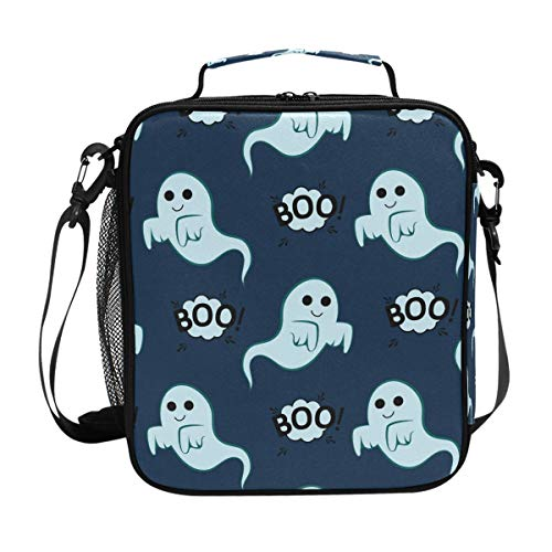 Happy Halloween Boo Ghost Blue Lunch Box Women Men Insulated Bag Large Freezable Cooler Picnic Meal Prep Shoulder Strap]()
