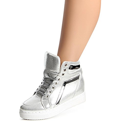 topschuhe24 Sneaker Donna, Argento (Argento), 38