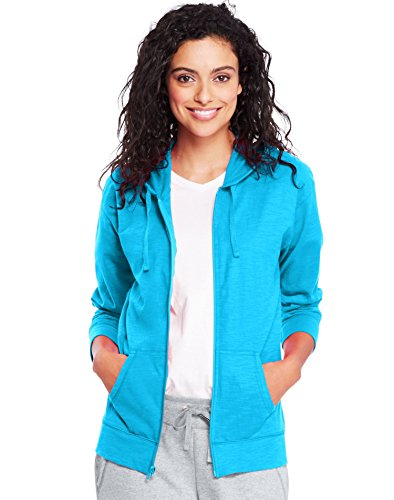 Hanes by Womens Slub Jersey Hoodie O9249_Process Blue_XL ()
