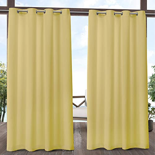 Exclusive Home Curtains Biscayne Indoor/Outdoor Two Tone Textured Window Curtain Panel Pair with Grommet Top, 54x84, Butter