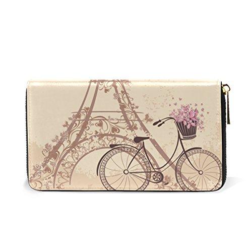 And Vintage Womens Around 6 Organizer Flowers TIZORAX Pattern Clutch Places Purses Handbags Interesting Wallet Zip Paris UxqWwCz