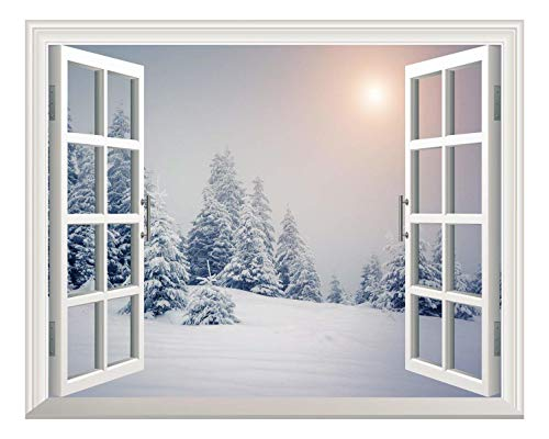 Removable Wall Sticker Wall Mural Pine Trees Covered by White Snow Out of The Open Window Wall Decor
