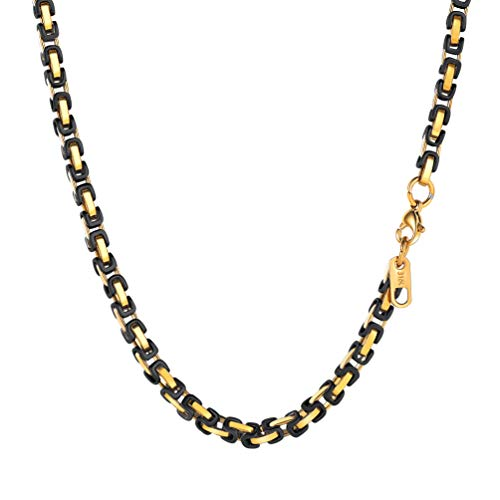 Byzantine Gold Jewelry - PROSTEEL 4MM Stainless Steel Long Necklace for Men Jewelry Vintage Byzantine Chain Link Gold Black Tone,30 Inches