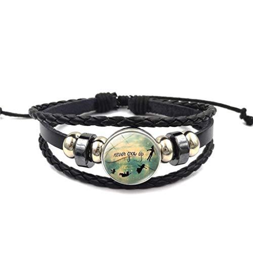 Naomi Retro Peter Pan Wristband Time Gemstones Multi-Layer Weave Bead Bracelet Jewelry Accessory Bangle