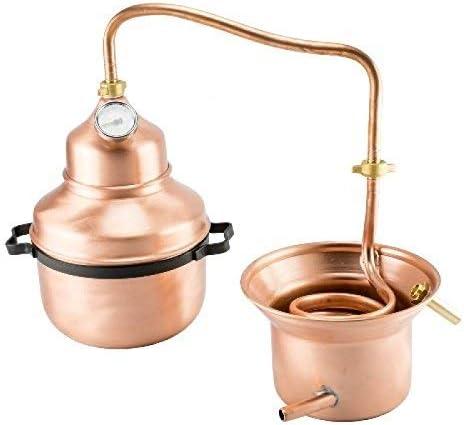 arterameferro Destilador alambique de cobre, 3 litros, modelo serpentina y con asas
