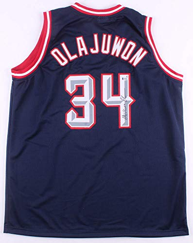 Hakeem Signed Olajuwon Rockets - Hakeem Olajuwon #34 Signed Houston Rockets