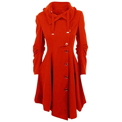 2018 Fashion Long Medieval Trench Woolen Coat Women Winter Black Stand Collar Gothic Overcoat,Red,XXL