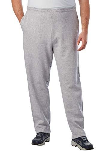 KingSize Men's Big & Tall Fleece Open-Bottom Sweatpants, Heather Grey Tall-2XL