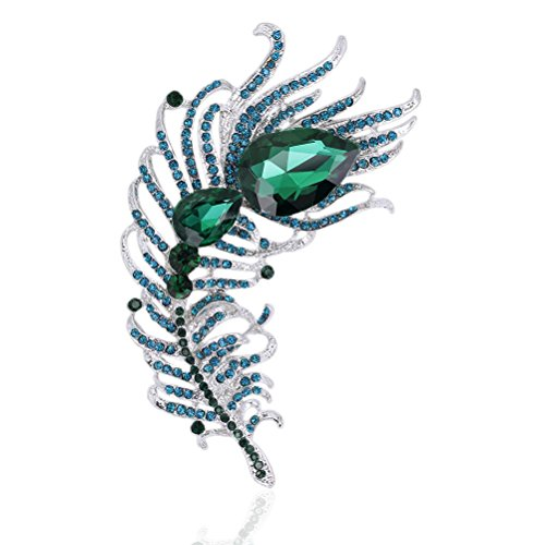 - Peacock Feather Brooches Pin for Women Bridal Glittery Rhinestone Crystal Brooch (Feather Green 4.64