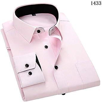 Hombres Mangalarga Camisa Slim Fit Estilo Diseño Sólido Color De Negocios Casual Vestido Camisa Hombre Social Marca Hombres Ropa Etiqueta Asiática 2XL 42 1433: Amazon.es: Ropa y accesorios