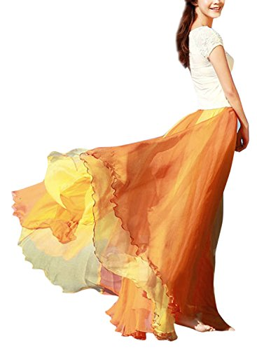 Phoenix Women Chiffon Gradient Bohemian Flowing Maxi Skirt Full Circle (Chiffon Circle Skirt)