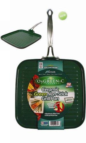 Orgreenic Ceramic Green Non-Stick Griddle Grill Pan