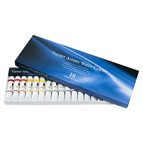 Turner Colour Works Paint Set Professional Artists High Pigment Concentrated Watercolor Paint Set [Set of 18] 5ml Tubes - Assorted Colors