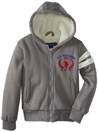 U.S. Polo Association Big Boys' Varsity Jacket with Printed Hood Lining and Sherpa Body Lining, Heather Grey, 10/12