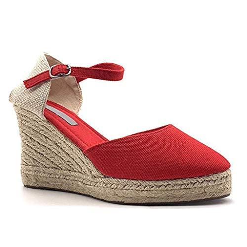 (Wedge Shoes for Women, Huazi2 Canvas Thick Soled Ethnic Style Espadrilles Sandals Red)