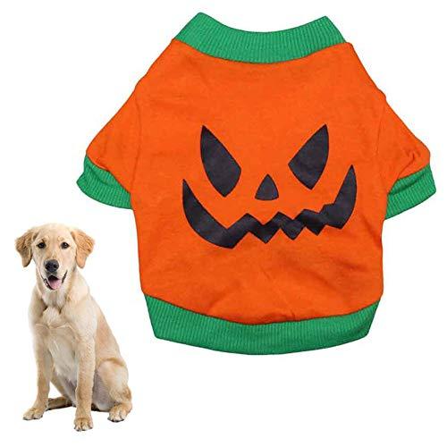 - Newstrength Pet Cloth,Pet Dog Clothes Halloween T-Shirt Soft Evil Face Costume Jacket Vest Apparel Orange+Green S