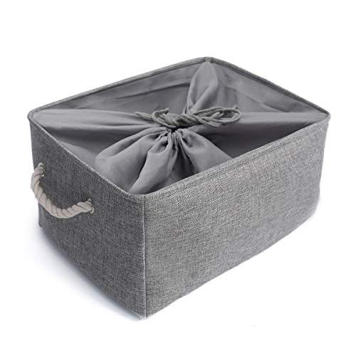 Mangata Washable Collapsible Thickened Canvas Fabric Storage Basket with Drawstring (XLarge, Grey) by Mangata