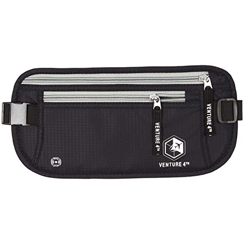 VENTURE 4TH RFID Money Belt Protect Yourself From Travel Theft Comfortable Durable and Lightweight (Body Wallet)